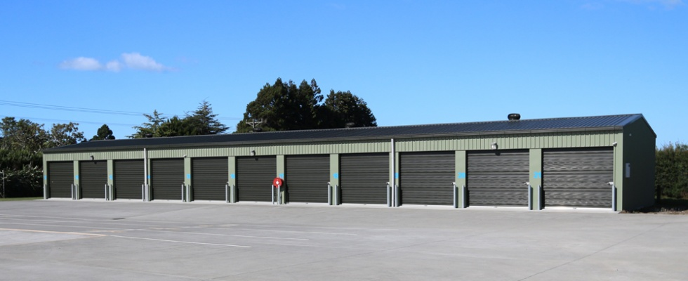 One of three storage buildings.