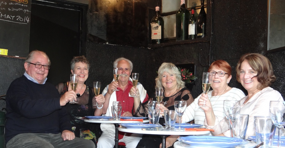 Final dinner in new bar 'Cafe la Poste' Bob, Judy, Gaby, Amanda, Chris & Marion