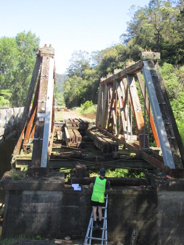 Railway tracks removed from Waitekauri Bridge.