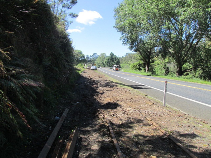 Tracks removed from Waikino end of bridge to allow diggers and crane onto site.