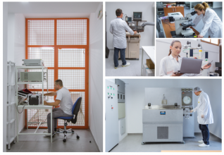 Specialized test rooms, e.g. for high voltage partial discharge testing and for the stress and burn-in tests at SENIS