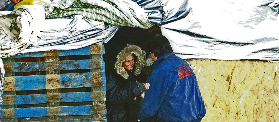Ministering to a Homeless Woman living in a makeshift shelter